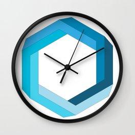 Impossible shape: blue hexagon Wall Clock