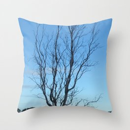 Bare Tree At Dusk Throw Pillow