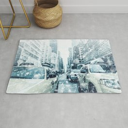 New York City Snowing Blizzard Photo Big Apple Streets Cars Rug