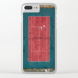 Tennis court, view of drone Clear iPhone Case