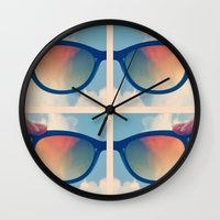 sunglasses Wall Clocks featuring Sunglasses by Kimpressions