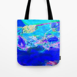 Tropical Electric Blue Abstract Digitally Enhanced Painting Photograph Tote Bag