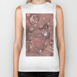Strawberry Moon in June Biker Tank