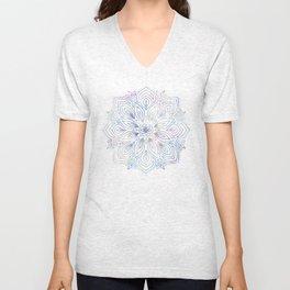 Marble Mandala - Purple Blue Rose Gold Unisex V-Neck