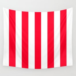 Ruddy red - solid color - white vertical lines pattern Wall Tapestry