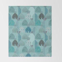 Art Deco in blue Throw Blanket
