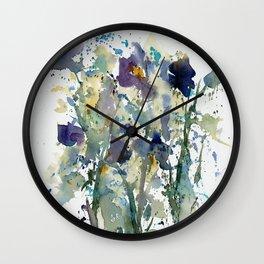 Iris Garden watercolor painting Wall Clock