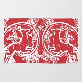 twin dancing stags of asheville from a wood carving Rug