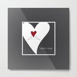 You + Me - Red Heart Birds In Love Metal Print
