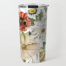 Wildflower Bouquet on White Travel Mug
