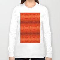 orange pattern Long Sleeve T-shirts featuring Orange Aztec Pattern by Corbin Henry