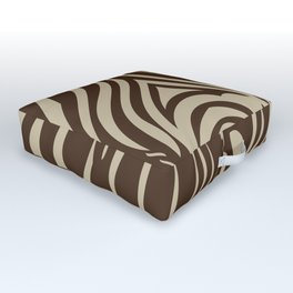 Zebra Stripes | Animal Print | Chocolate Brown and Beige | Outdoor Floor Cushion