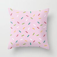 donut Throw Pillows featuring Donut by According to Panda
