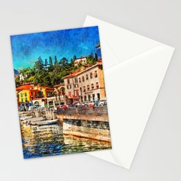 Cityscape Menaggio on Como Lake, Italy. Stationery Cards