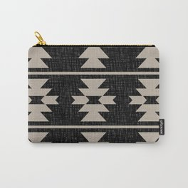 Southwestern Pattern 129 Black and Linen Carry-All Pouch