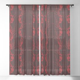 Red on Red Floral Stripe Sheer Curtain