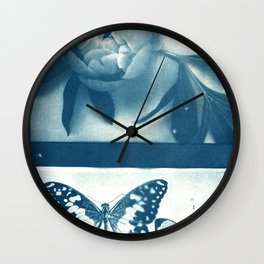Fragments of the Past (19), art print, collage, blue print, wall art, wall decor, home decor Wall Clock