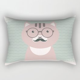 Clever Cat Hipster Mustache Character Rectangular Pillow