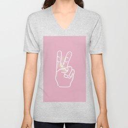 Pastel Pink Hand Sign Unisex V-Neck