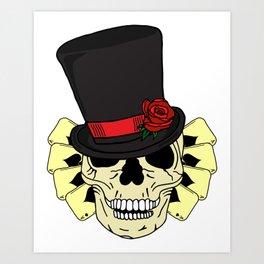 Magician Skull in Top Hat Art Print