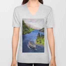 River Boat Journey Unisex V-Neck