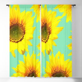 Sunflowers on a pastel green backgrond - #Society6 #buyart Blackout Curtain