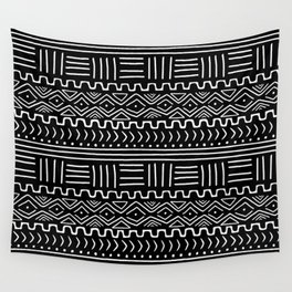 Mud Cloth on Black Wall Tapestry