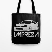 subaru Tote Bags featuring Subaru Impreza 2006 - silver - by Vehicle