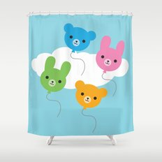 Kawaii Animal Balloons Shower Curtain