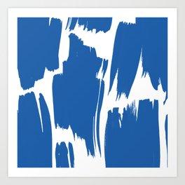 Modern blue artistic trendy brushstrokes Art Print