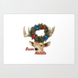 Buon Natale - italiano Merry Christmas Deer Art Print