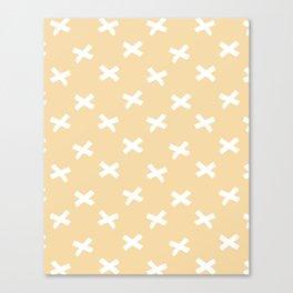 Minimalist X Cross Pattern - Sand Yellow Canvas Print