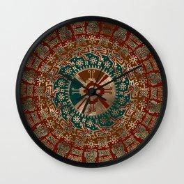 Hunab Ku Gold Red and Teal Wall Clock