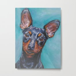 Miniature Pinscher dog art portrait from an original painting by L.A.Shepard Metal Print