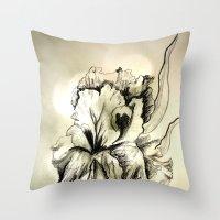 iris Throw Pillows featuring Iris by Suzanne Kurilla