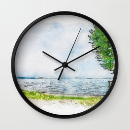Aquarelle sketch art. Beautiful blue lake and lonely tree Tuscany, Italy Wall Clock