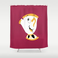 beauty and the beast Shower Curtains featuring Beauty and the Beast by FilmsQuiz