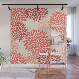Floral Pattern, Living Coral, Peach Wall Mural