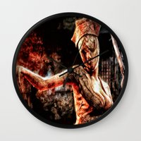silent hill Wall Clocks featuring Death By Medicine Silent Hill Nurses by Joe Misrasi