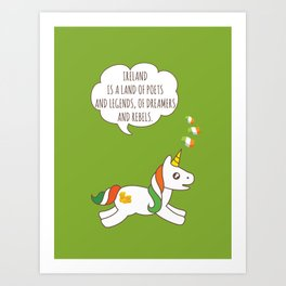 St. Patrick's Day Unicorn 3 Art Print