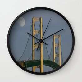 Moon and the Mackinac Bridge by the Straits of Mackinac Wall Clock