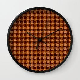 Large Dark Pumpkin Orange and Black Hell Hounds Tooth Check Wall Clock