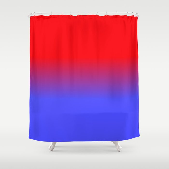 Neon Red And Bright Blue Ombre Shade Color Fade Shower Curtain