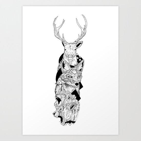 Animal totem Art Print