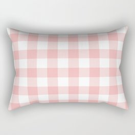 Coral Checker Gingham Plaid Rectangular Pillow