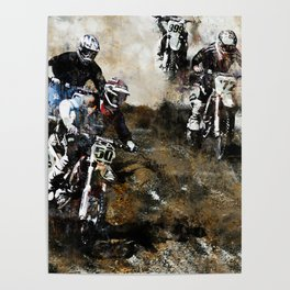 """Dare to Race"" Motocross Dirt-Bike Racers Poster"