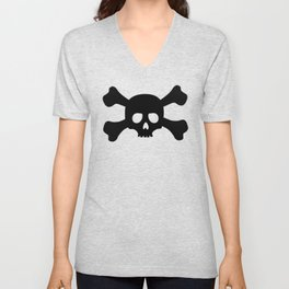 Simple Black Skull and Crossbones Unisex V-Neck