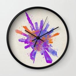 Dubai, United Arab Emirates Colorful Skyround / Skyline Watercolor Painting Wall Clock