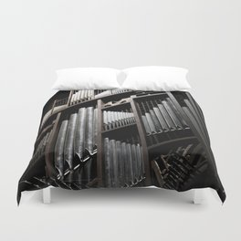Gray and Brown Steel Organ Musical Instrument Abstract Print Duvet Cover