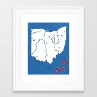 ohio state Framed Art Prints featuring Ohio State Map by Finlay McNevin